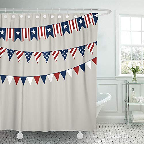 - Emvency Shower Curtain Set Waterproof Adjustable Polyester Fabric Flag of Independence Day American Americana 72 x 72 Inches Set with Hooks for Bathroom