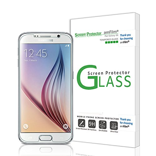 amFilm Galaxy S6 Screen Protector Tempered Glass (Front) and PET (Back) Screen Protector for Samsung Galaxy S6 (NOT S6 Edge) (1-Pack) [in Retail Packaging] Image