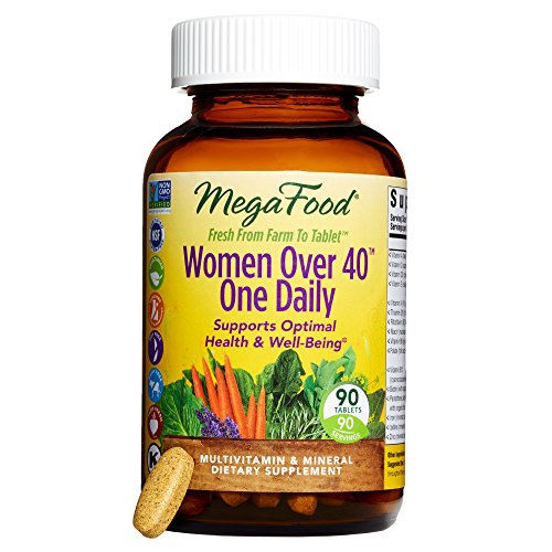 MegaFood - Women Over 40 One Daily, Multivitamin Support for Hair, Skin, Nails, Energy Production, and Hormone Balance with Iron and B Vitamins, Vegetarian, Gluten-Free, Non-GMO, 90 Tablets (Vegetarian Mega Vitamin)
