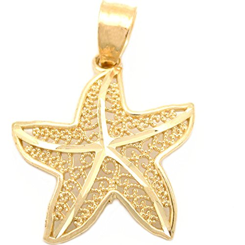 - 14k Gold Starfish Charm Sea Life Beach Jewelry 16.5mm