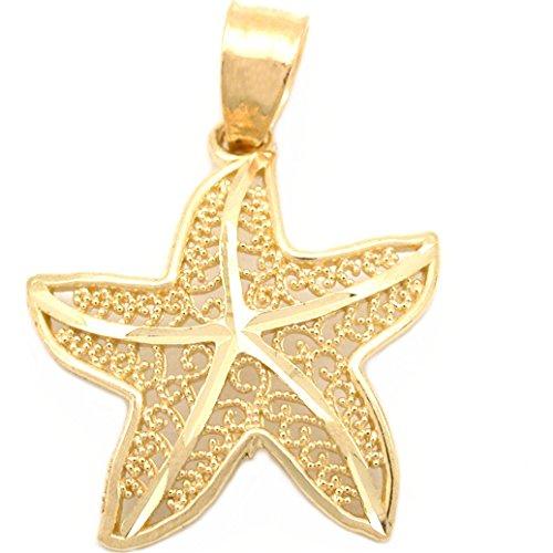 14k Gold Starfish Charm Sea Life Beach Jewelry 16.5mm 14k Yellow Gold Starfish Charm