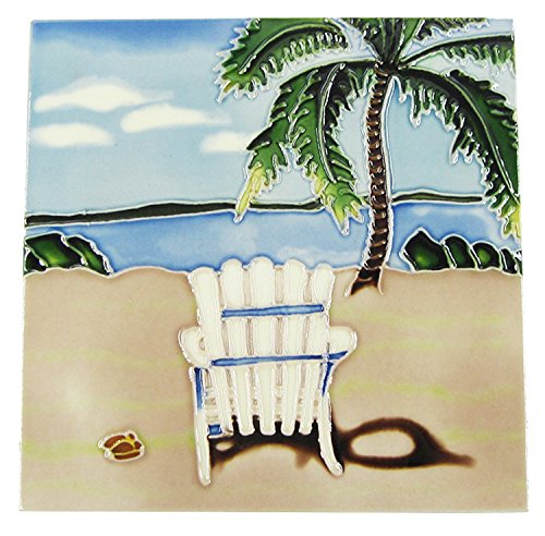 Tree Tile Ceramic Palm - Empty Beach Chair and Palm Tree Beach Scene Ceramic Tile 8 x 8 Inches