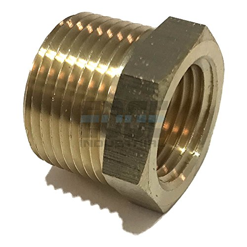 Female Pipe Reducer - EDGE INDUSTRIAL Brass REDUCING HEX Bushing 3/4