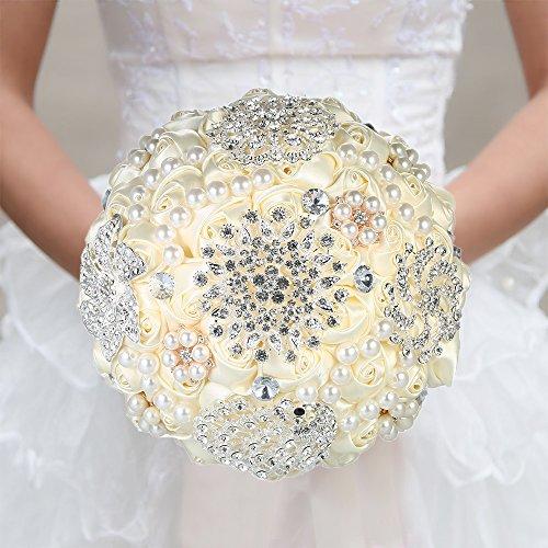 Decdeal Bridal Bouquet, Roses Flowers Crystal Pearl Wedding Bouquet (Diamond Type(18x25cm))