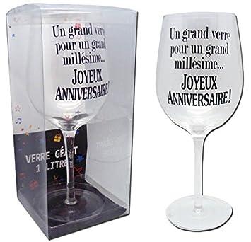 Verre à Vin Géant Anniversaire 1 Litre