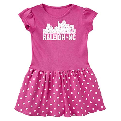 inktastic Raleigh Skyline Infant Dress 18 Months Raspberry with Polka Dots
