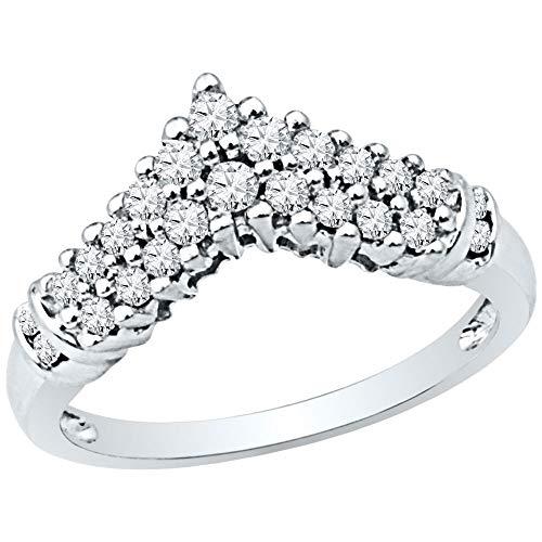 10k White Gold Womens Round Diamond Chevron Band Ring 1/2 Cttw