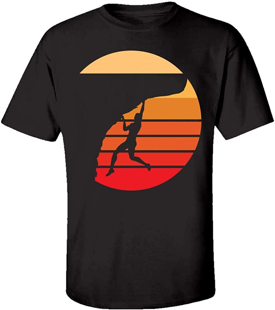 Kids T-Shirt Retro Rock Climber Sunset Mountain Climbing