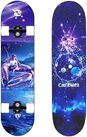 12星座独占スケートボード、スケートボード コンプリート デッキ 高精度 標準 初心者 スケボ,標準クルーザースケートボード、31''x 8「」広げPUホイールダブルキック凹スケートボードクルーザー (Color : Cancer)