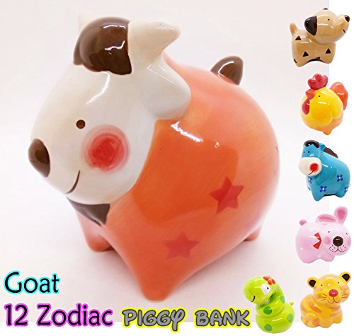 WitnyStore Piggy Bank Ceramic 12 Zodiac Handmade Paint Coat Decor Collect coin Quality Cute (Ceramic Zodiac)
