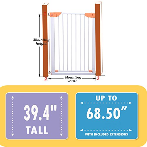 Fairy Baby Easy Install Extra Tall & Wide Walk Thru Gate,39.4'' High,Fit Spaces between 64.96'' to 68.50'' Wide by Fairy Baby (Image #7)