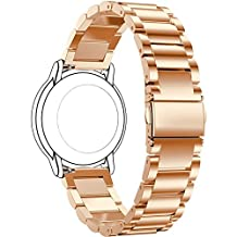 Turnwin for Pebble Time Bands and Straps, Replacement 3 Beads Stainless Steel Bands for Pebble Time Smartwatch (Rose Gold)