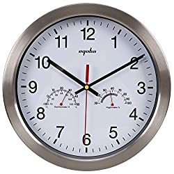12 Quartz Round Silent Metal Frame Digital Wall Clock No Ticking w/ Temperature & Humidity Stats, White