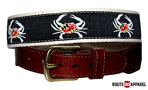 (Route One Apparel | Unisex Maryland Flag Crab Belt in Black)