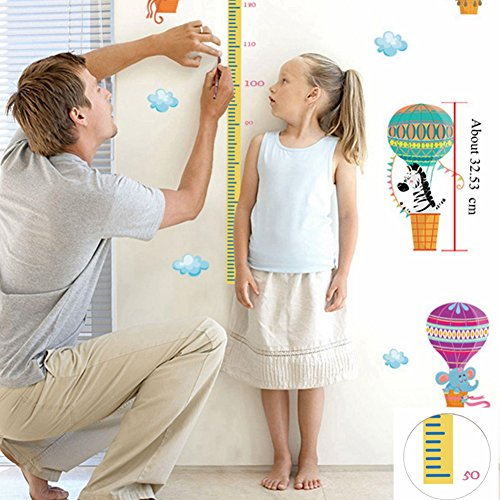 Rocket & Hot Air Balloon Growth Chart with Stickers Wall Decals Height Measurement Ruler Nursery Home Decoration for Baby, Kids, Boys & Girls (90 x 145 cm) Solar System Ruler