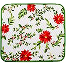 Microfiber Reversible Dish Drying Mat Holly Pine Berry Christmas Design