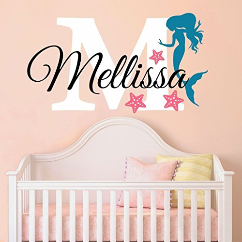 Nursery Mermaid Personalized Custom Name and Initial Wall Decal Sticker 18 W by 12 H, Girl Name Wall Decal, Girls Name, Mermaids Wall Decor, Girls Decor, Girls Bedroom, PLUS FREE HELLO DOOR DECAL
