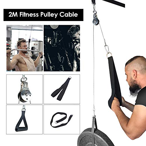 Elikliv Fitness Pulley Cable Machine Attachment System for Gym Home DIY Cable Pulley System Arm Strength Exerciser…