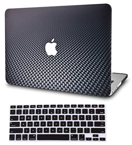 "KECC Laptop Case for MacBook Air 13"" w/Keyboard Cover Plastic Hard Shell Case A1466/A1369 2 in 1 Bundle (Black Carbon Fiber)"