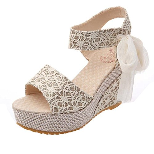 Fheaven Women's Wedge Sandals Lace Across The Top Platform High Heels Wedding Sandals with Lace Bandage (China size:36(US:5.5), White)