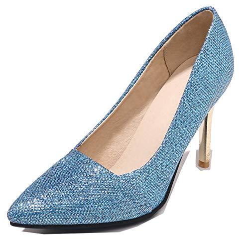 Bleu Paillettes Bling Aisun Basse Mode Escarpins Bout Femme Pointu Xqv8OFw
