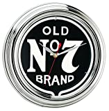 "12"" chrome injection molded housing and white neon complement this classic Jack Daniel's old no. 7 graphic. Aa battery operated quartz clock movement and neon power adapter included. Dimensions: 12"" diameter x 3""D."
