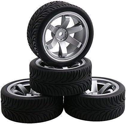 [スポンサー プロダクト]Mxfans 4個いれ プラスチック  6スポーク 電気メッキ ホイールリム&小麦パターン ゴムタイヤ