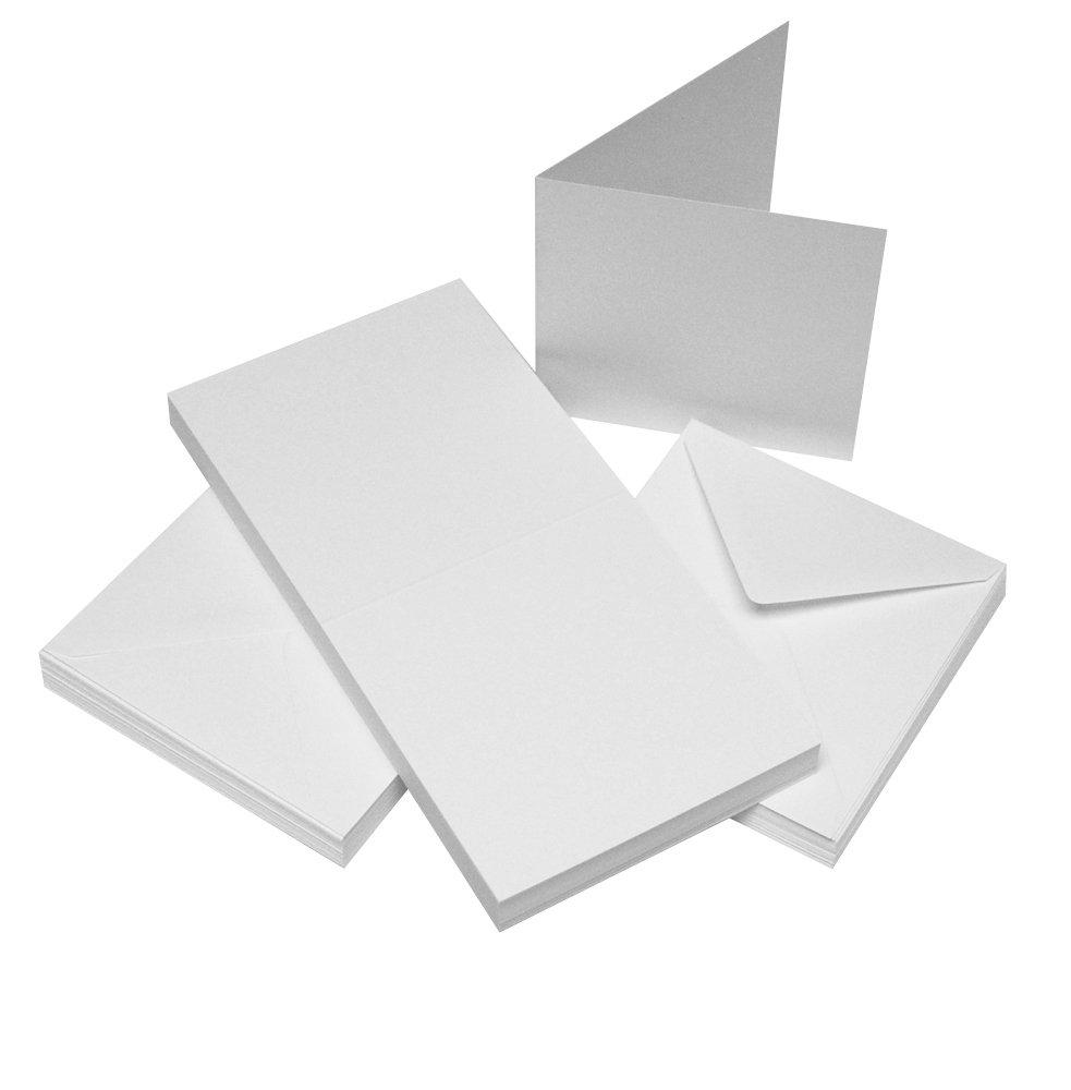 50tarjetas y sobres, color blanco, 10,16 x 10,16 cm, Crafts UK, cartón, crema, 9 mm 382 275