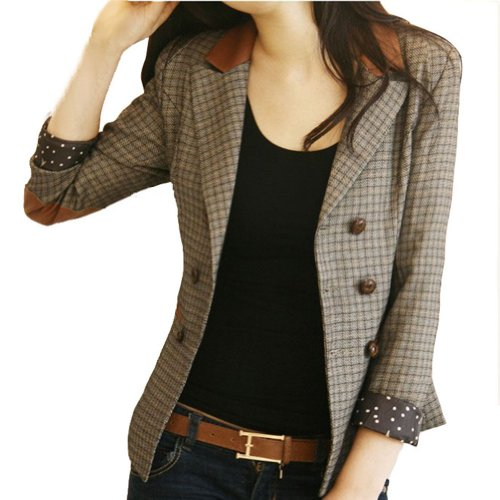 Tweed Womens Blazer (VOBAGA Vintage Style Double-Breasted Check Blazer Jacket Coat S)