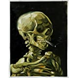 Skull of a Skeleton with Burning Cigarette - Vincent Van Gogh High Quality Hand-painted Oil Painting Reproduction (27.4 X 20 In.)