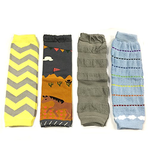 Allydrew Footless Leg Warmers for Babies and Toddlers - Chevron, Pony, Grey, Rainbow Cloud (4 pack)