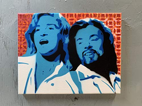 Jimmy Fallon and Justin Timberlake Painting on Stretched Canvas 8x10 Inches Signed
