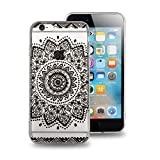 Vanzon iPhone 6 Case,[Ultra-Slim] iPhone 6 Clear Case [Totem Series] Soft Bumper Hybrid Shock Proof Protective Case for iPhone 6/6S - Black Flower