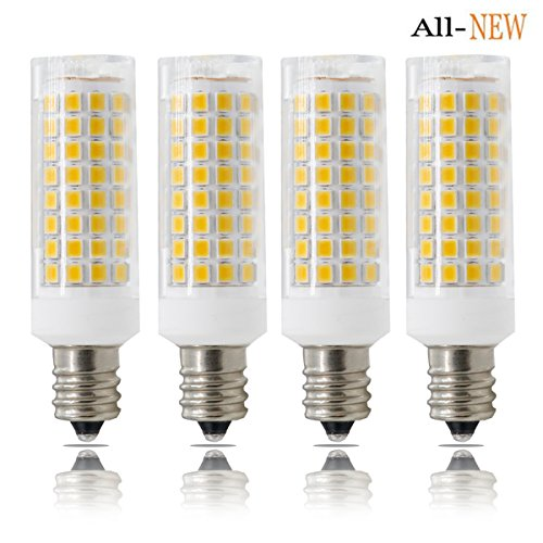 E12 LED, Dimmable Candelabra Base E12 Bulbs, ALL-NEW(102PCS), 7W E12 Led Bulb 75W Equvilent,730LM , 360 Degree Beam Angle T3/T4 Candelabra Base Corn Bulb, AC110-130V, 4-PACK … (7W, Warm White)