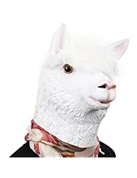 PARTY STORY Alpaca Latex Head Mask Halloween Novelty Costume Rubber Animal Head Masks