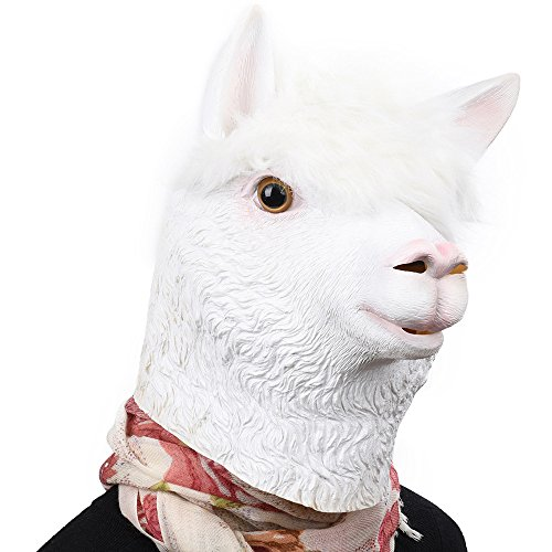 PARTY STORY Alpaca Latex Head Mask Halloween Novelty Costume Rubber Animal Head -