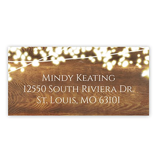 Address Rectangle Labels - Rustic Lights Self-Adhesive, Rectangle Address Labels - Personalized - Minimum Quantity 96