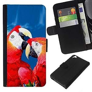 KLONGSHOP // Tirón de la caja Cartera de cuero con ranuras para tarjetas - Amor del loro Rojo Azul Hermosa naturaleza del pájaro - HTC Desire 820 //