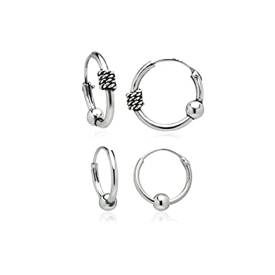 387291861 Amazon.com: 925 Sterling Silver Balinese Beaded Endless Small Hoop Earrings  by Nine2Five | Set of 2 10, 12mm: Jewelry