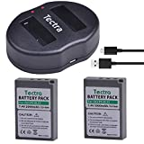 Tectra 2Pcs 2000mAh BLS-5 PS-BLS5 BLS50 Battery + Dual USB Charger for Olympus OM-D E-M10,Mark III,Mark II,PEN E- PL2,E-PL6,E-PM2, Stylus 1