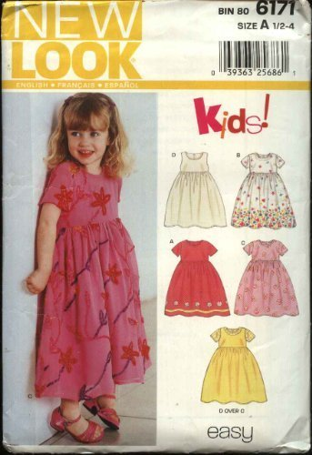 - New Look Sewing Pattern 6171 Girls Size ½ - 4 Easy Dresses Pinafore Jumper