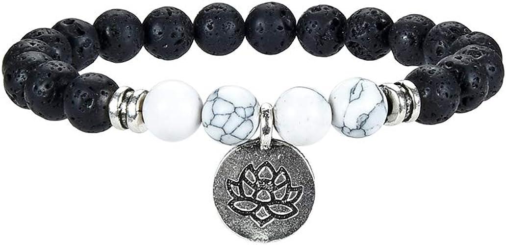 Chakra Brazalete, Brazalete con Cuentas de Piedras Preciosas de 1-3 Piezas, Hombres y Mujeres, Brazalete difusor de Aceite de Lava de Lava, Reiki Energía para la Budista de Yoga