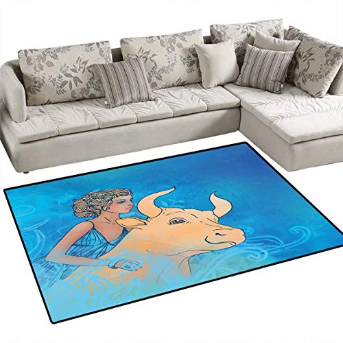 Taurus Girls Rooms Kids Rooms Nursery Decor Mats Bull and Muse Spiritual Beauty Spring Season Elegance Horoscope Motif Bath Mats for Floors 48