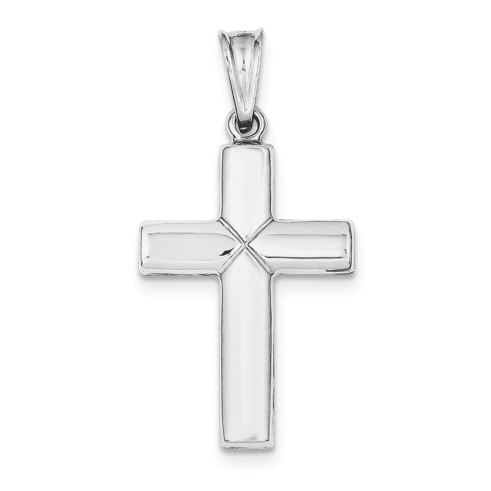 Sterling Silver Rhodium-plated Diamond Cut Cross Pendant