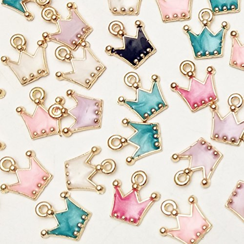 Crown Charm Pendant Necklace - Dandan DIY 30pcs Mini Multi-Colors Colorful Alloy Crown Pendant for Necklace Bracelet Jewelry Making Clothes Sewing Bag Decoration Charm DIY Scrapbooking Supply(Crown)