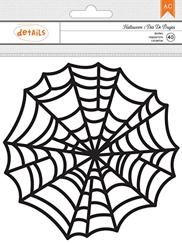 American Crafts 40 Piece Halloween Embellishments Doilies Large Spider Webs (Spider Web Halloween Craft)