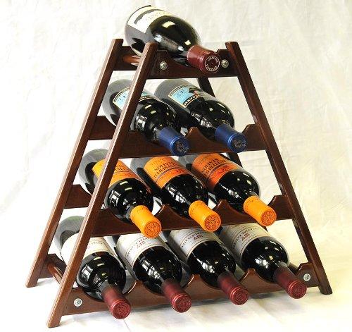 Wine Rack Wood -10 Bottles Hardwood Stand -Walnut