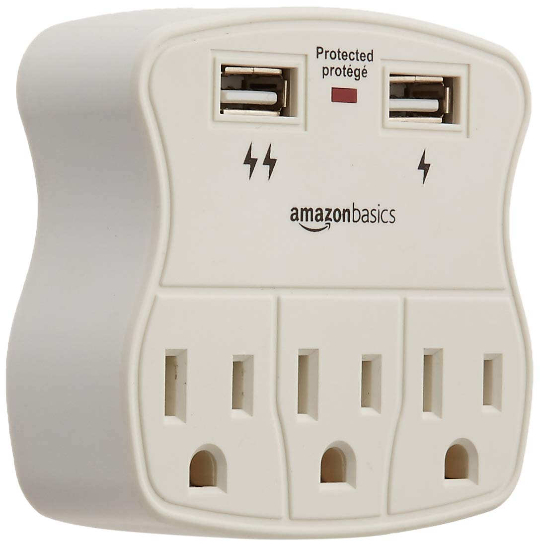 AmazonBasics 3-Outlet Surge Protector with 2 USB