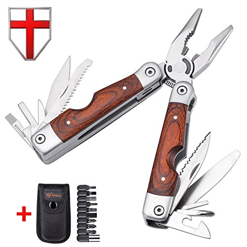 Best Wood Handle Multitool 23-in-1 with Knife and Pliers – Utility Tool with 9 Attachable Bits – Good multi-tool for Camping, Hunting, Survival, Hiking and Outdoor Activities – Grand Way 59026