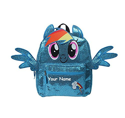 Personalized My Little Pony Rainbow Dash with Wings Glittery Blue Back to School Backpack Book Bag - 14 Inches